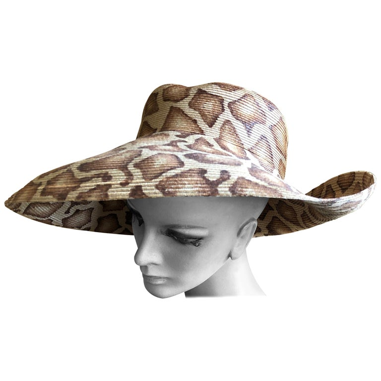 Eric Javits Wide Brim Giraffe Print Straw Hat