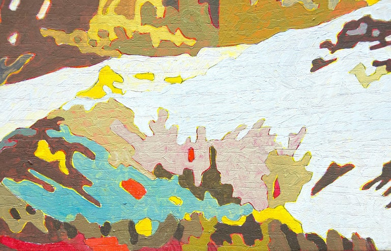 A painting by Eric Jon Holswade. This untitled flashe on paper painting is executed in bright blues, yellows, ochre, reds, white and browns and depicts a mountainous landscape. Signed in pencil, verso,