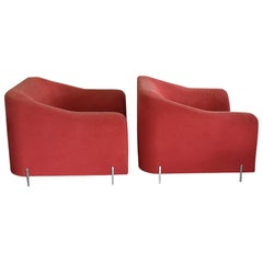 Eric Jourdan for Ligne Roset Snowdonia Upholstered Armchairs, a Pair in Red