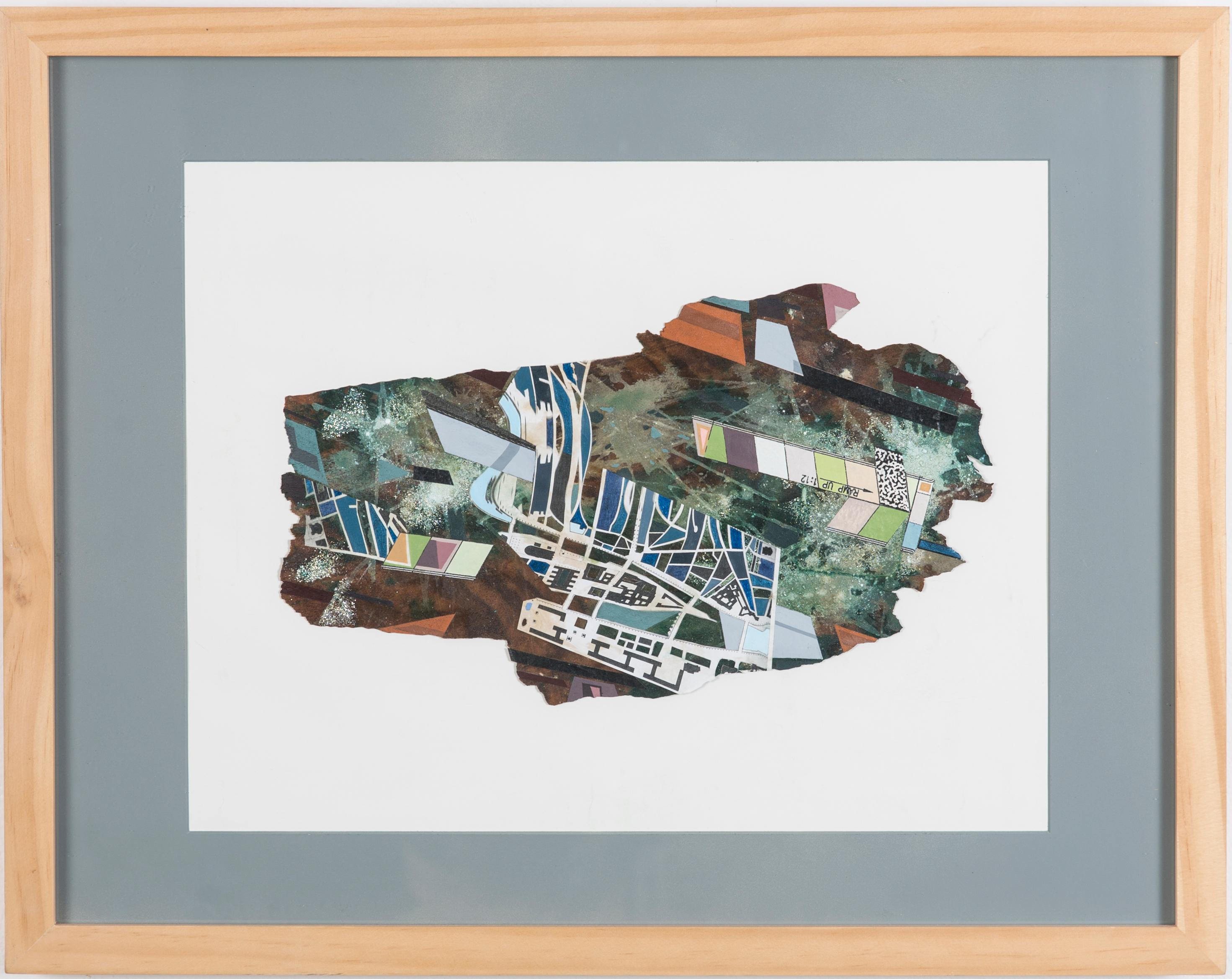 Untitled Mixed Media Collage on Raw Tree Bark- Colorful, Gridded Geometric