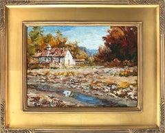 """""""Tierra Amarilla"""" Impressionist Oil Painting Landscape with Barn and River"""