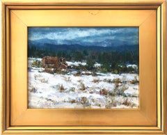 """Winter in Pecos"" Impressionist Oil Painting Landscape with Snow and Mountains"