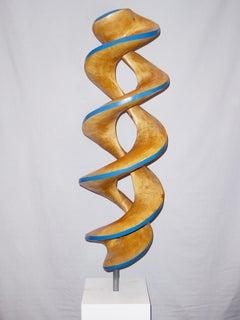 Spiral#1-Blue, large maple sculpture
