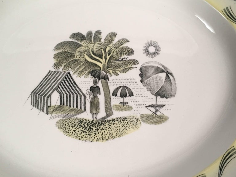 Art Deco Eric Ravilious Wedgwood Garden Series Oval Platter with Woman and Umbrellas For Sale