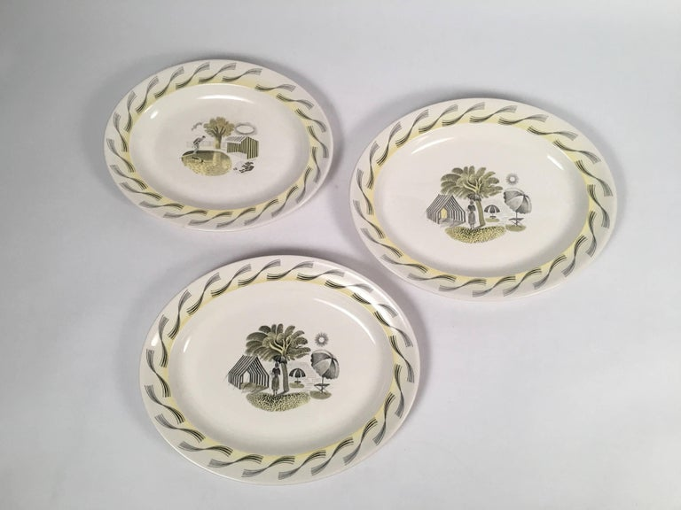 Mid-20th Century Eric Ravilious Wedgwood Garden Series Oval Platter with Woman and Umbrellas For Sale