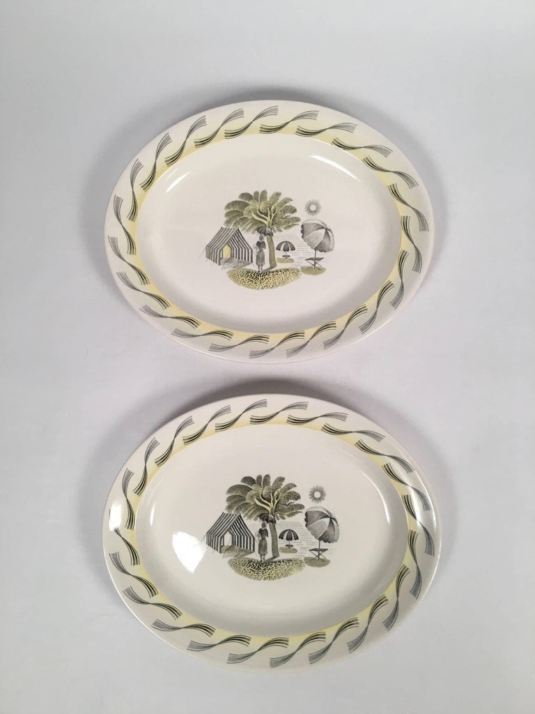 Earthenware Eric Ravilious Wedgwood Garden Series Oval Platter with Woman and Umbrellas For Sale