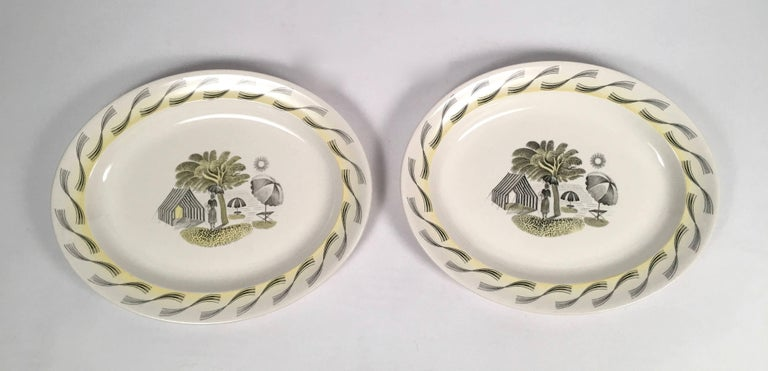 Eric Ravilious Wedgwood Garden Series Oval Platter with Woman and Umbrellas For Sale 1