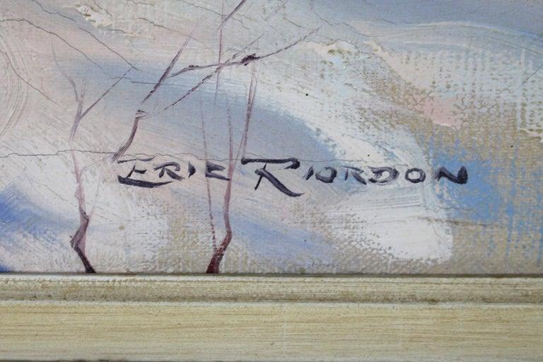 Winter  Landscape - Purple Landscape Painting by Eric Riordon
