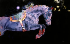 Allied - Contemporary abstract Horse, dramatic color palette, texture & layering