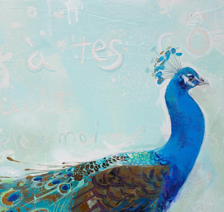 Beauté Victorienne abstract turquoise Peacock with bold colors, layered texture - Painting by Eric Robitaille