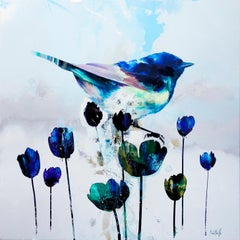 """""""Blue Free Will"""" Square realist abstract oil painting with blue bird and flowers"""
