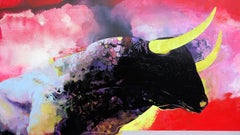 Entre Ciel et Terre - red contemporary abstract and bold colors painting w bull