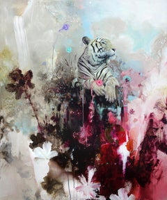 Mount Fortitude, Abstract realism, Tiger with bright colors, layered texture