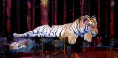 Nocturnal Synchronisation, Sexy tiger painting, bold colors, red layered texture