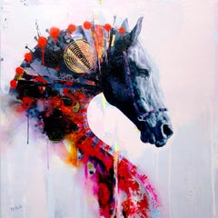 Quintessence II, Contemporary abstract Horse with bold colors, layered texture