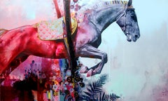 The Crossing - Contemporary abstract Horse with bold colors, layered texture