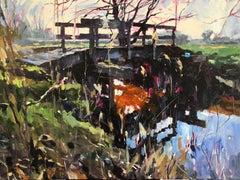 Bridge- 21st Century Contemporary Landscape Painting of a Small Bridge