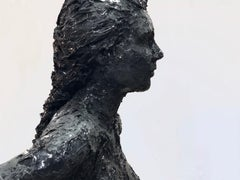 Colette- 21st Century Sculpture of a nude girl made of black recycled plastic