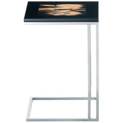 Eric Side Table in Black Lacquered Wood, Dark Horn and Stainless Steel, Mod 1325