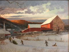 """Bringing Home the Christmas Tree,"" American Northeast Regionalism, Winter Folk"