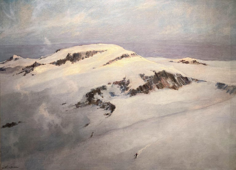 Winter Mountain Landscape with Skier - Painting by Eric Sloane