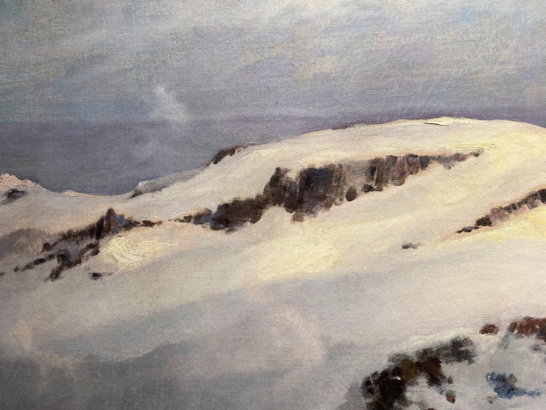 Winter Mountain Landscape with Skier - American Impressionist Painting by Eric Sloane