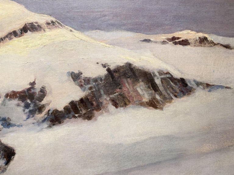 Winter Mountain Landscape with Skier - Gray Landscape Painting by Eric Sloane