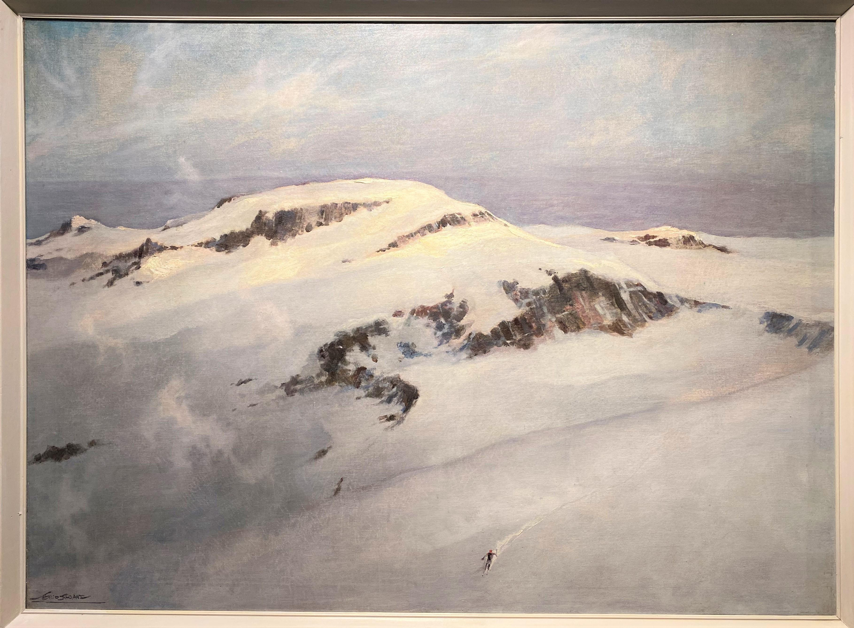 Winter Mountain Landscape with Skier