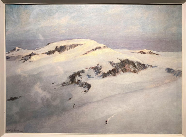 Eric Sloane Landscape Painting - Winter Mountain Landscape with Skier
