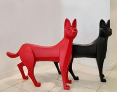 The Serval by Eric Valat - Sculpture and bench