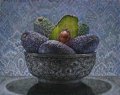 AVOCADOS, purple, tapestry, glistening vegetable, still-life, hyper-realism