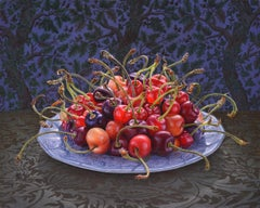 CHERRIES, still-life, hyper-detailed, fruit, red, patterned-background