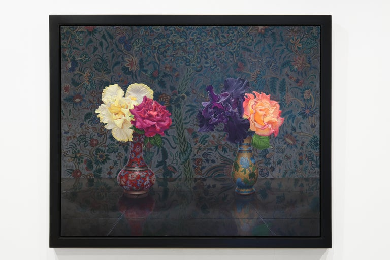 IRIS AND ROSE, still-life, flowers in vase, vibrant colors, tapestry - Painting by Eric Wert