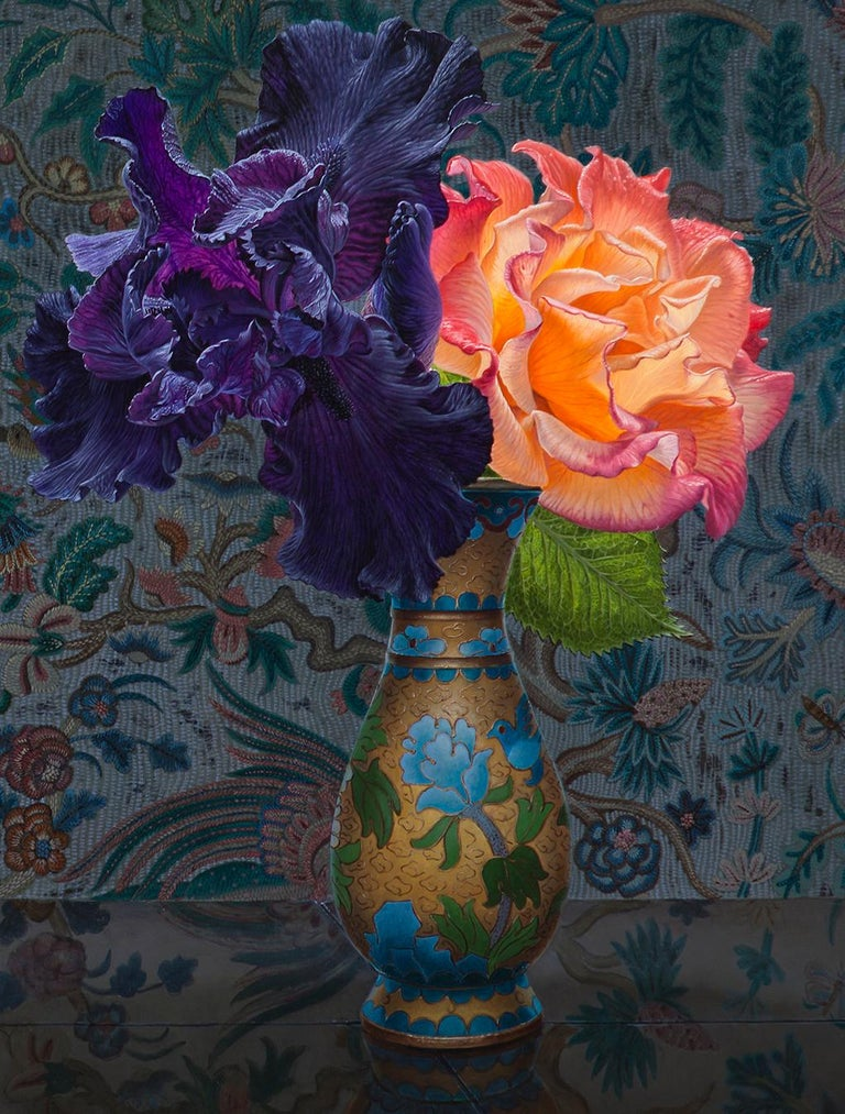 IRIS AND ROSE, still-life, flowers in vase, vibrant colors, tapestry - Contemporary Painting by Eric Wert