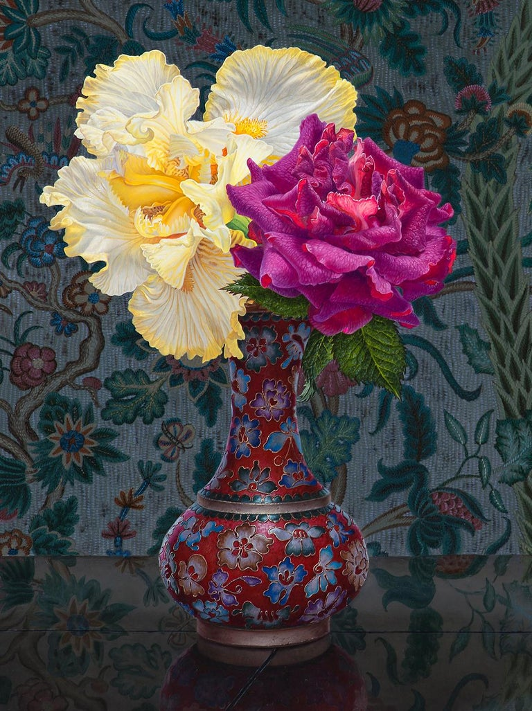 IRIS AND ROSE, still-life, flowers in vase, vibrant colors, tapestry - Black Still-Life Painting by Eric Wert