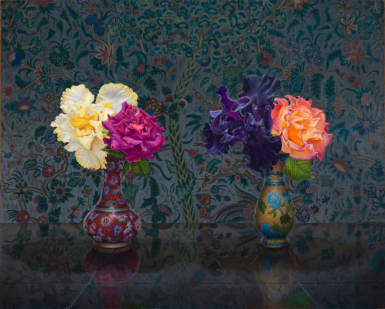 Eric Wert Still-Life Painting - IRIS AND ROSE, still-life, flowers in vase, vibrant colors, tapestry