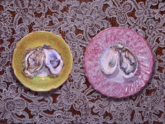 OYSTERS, hyper-detailed, shells, pink, yellow, white, vibrant background