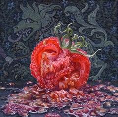 TOMATO, juicy tomato, vibrant colors, still-life, dragon tapestry, kitchen