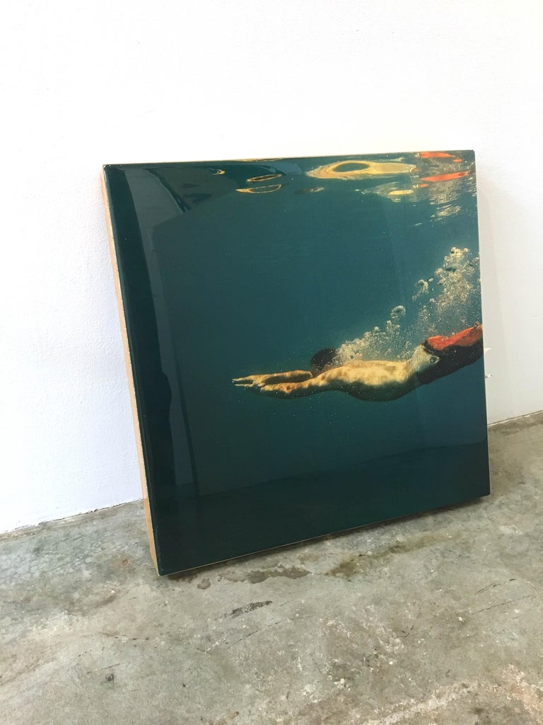Blue Edge, Eric Zener, Gold Leaf and Mixed Media - Figurative Waterscape - Contemporary Mixed Media Art by Eric Zener