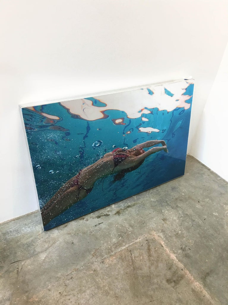 Summer Lotus, Eric Zener, Mixed Media on Panel, Figurative Waterscape - Contemporary Mixed Media Art by Eric Zener