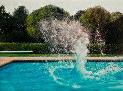 SUMMER WORMHOLE, water splashing, pool, diving, board, backyard, green, pool