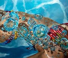EPHEMERA I, Swimmer, Blue Water, Pool, Bubbles, Female Form