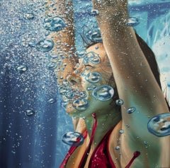 HAPPINESS, Swimmer, Bubbles, Underwater, Photorealism, Blue, Pool, Portrait