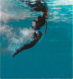 LOOKING AHEAD, man in water, photo-realism, underwater, swimmer, business suit