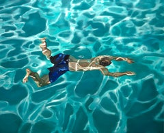 QUARANTINE IN BLUE, man underwater, swimming, pool, blue, photo-realism