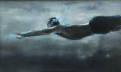 The Search, Eric Zener, Oil on Canvas, Male Swimmer, Figurative-Blues and Greys