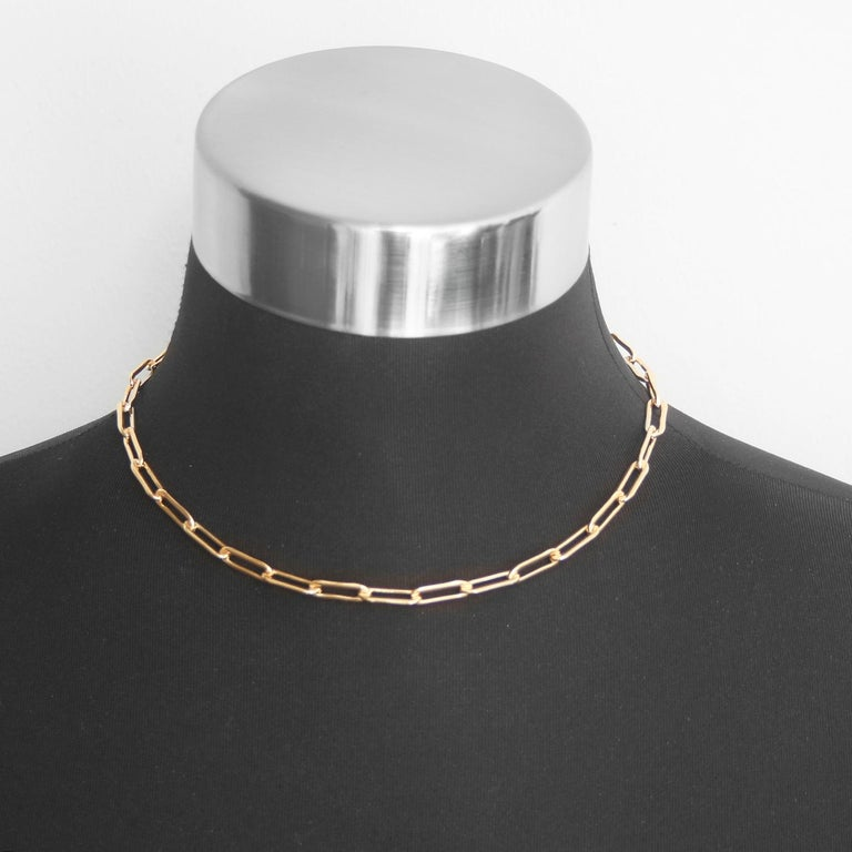 Women's or Men's Erica Kleiman Gold Filled Paper Clip Chain Necklace For Sale