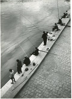Paris, Seine, Fisher in the morning, 1955