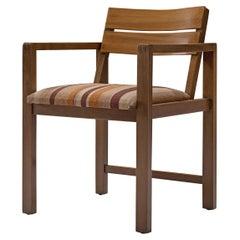 Erich Dieckmann Bauhaus Armchair 'M42' in Walnut and Striped Fabric