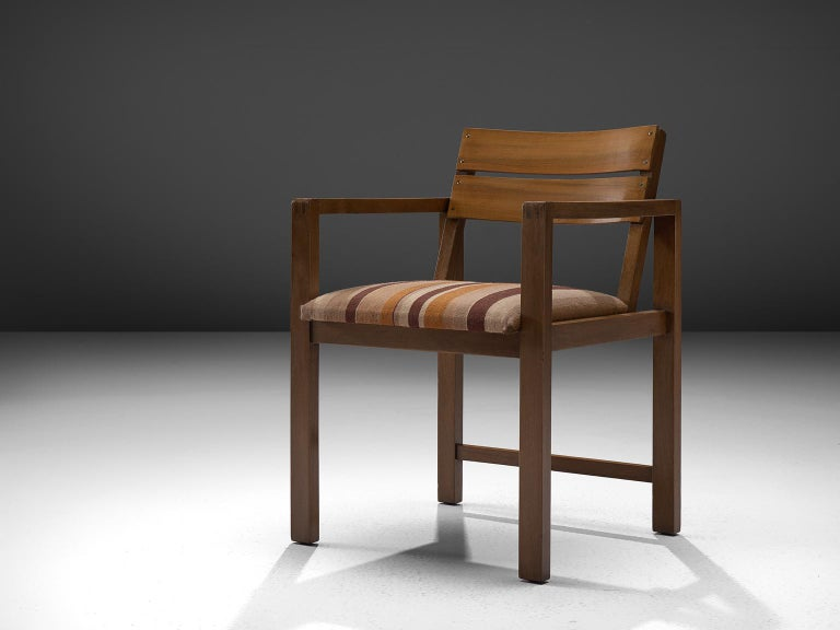 Erich Dieckmann, Bauhaus armchair model M42, walnut and fabric, Germany, 1930s  This is a rare Bauhaus armchair by the German designer Erich Dieckmann created in the 1930s. It's composed of walnut and fabric. The design features the Bauhaus